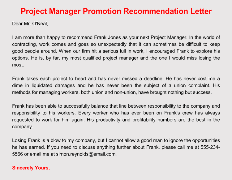 Promotion Recommendation Letter | 20 Samples Of Recommendation Letters With Professional Writing Tips