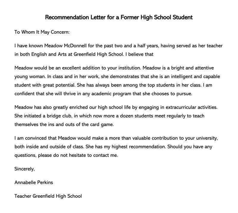 Recommendation Letter for High School Student