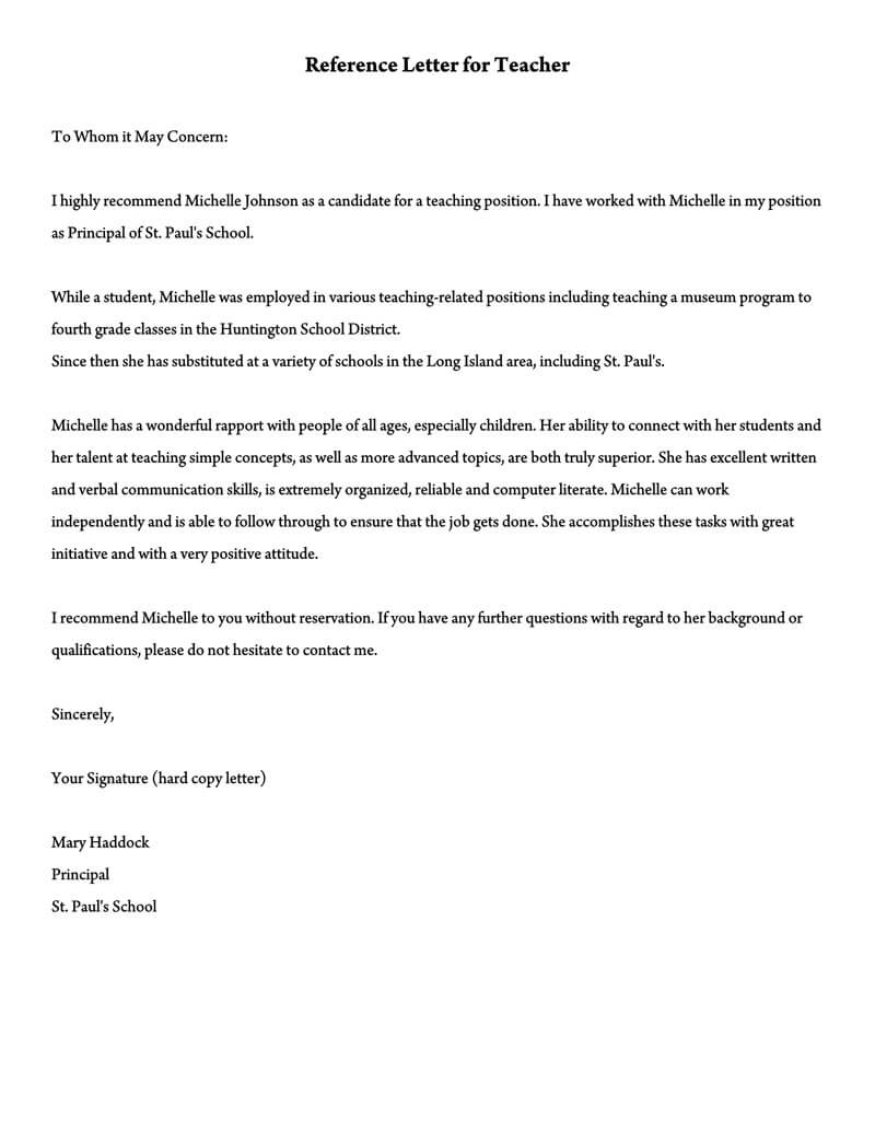 Recommendation Letter For A Teacher 32 Sample Letters Templates
