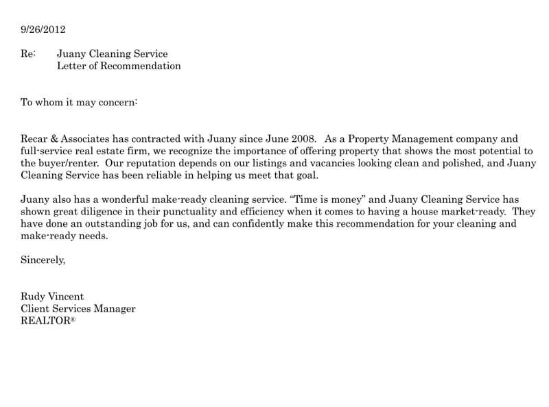 Company Recommendation Letter Sample.Recommendation Of A Business Service Sample Letters