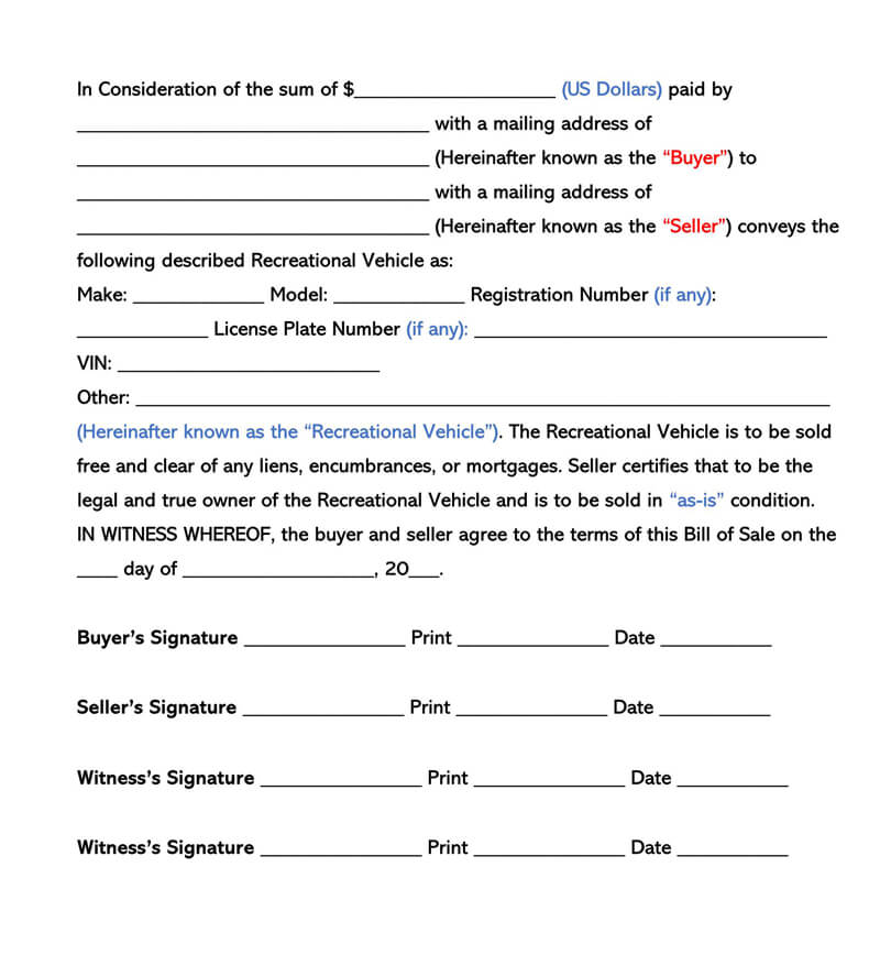 Recreational Vehicle Bill of Sale