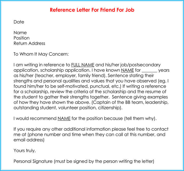free edit reference letter for a friend