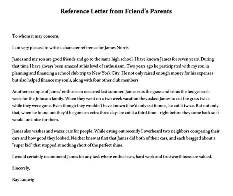 Reference Letter from Friend's Parents