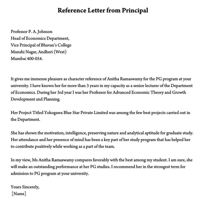 Reference Letter from Principal