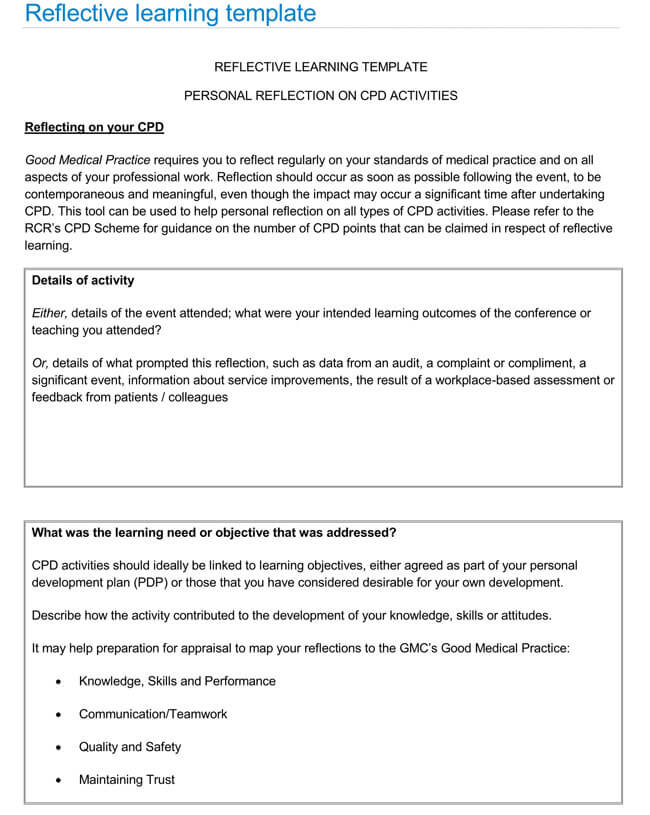 Reflective Statement Templates Samples PDF Word