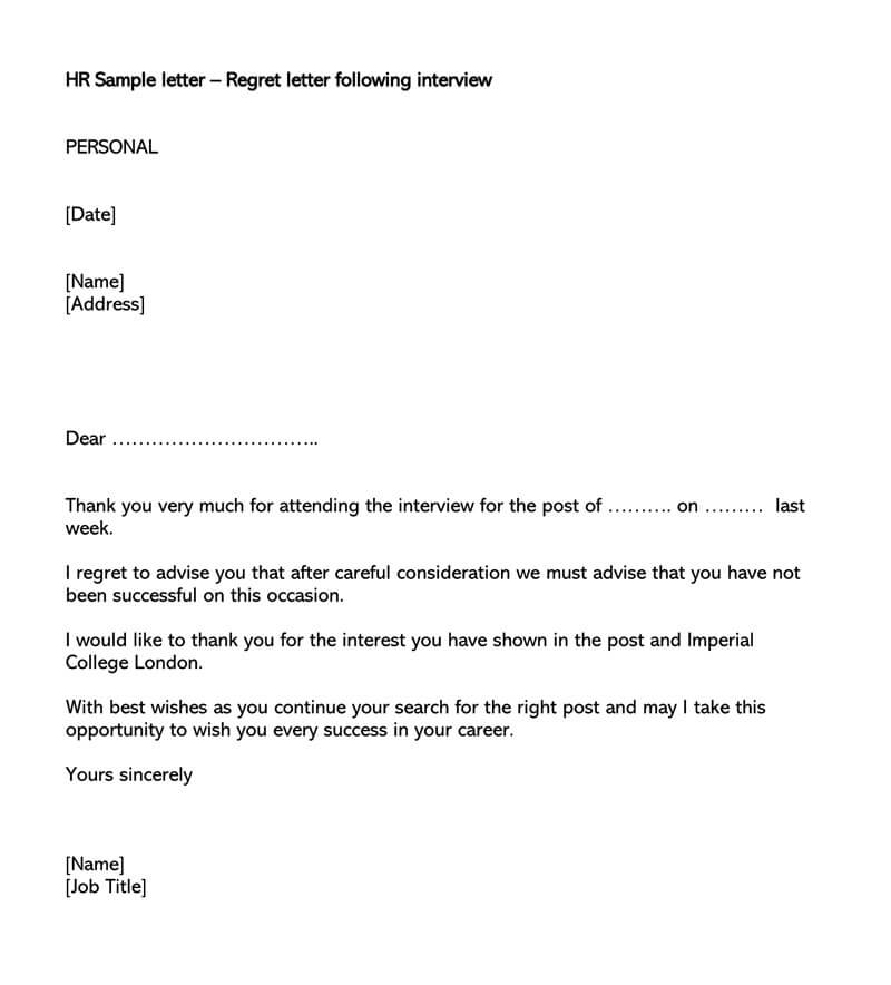Regret letter following interview