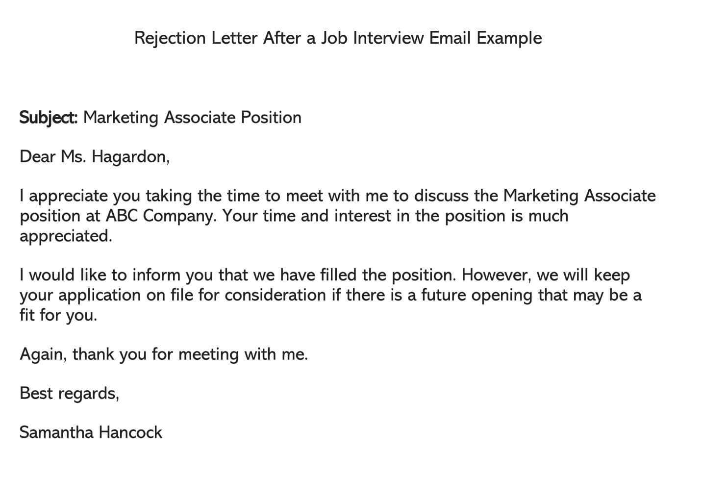 Rejection Letter After a Job Interview Email Example