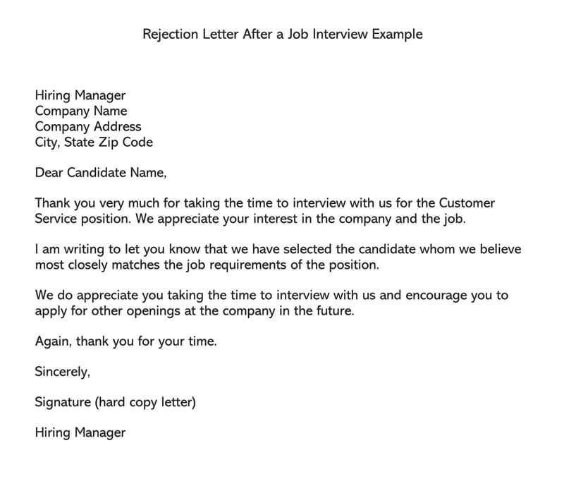 Rejection Letter After a Job Interview Example