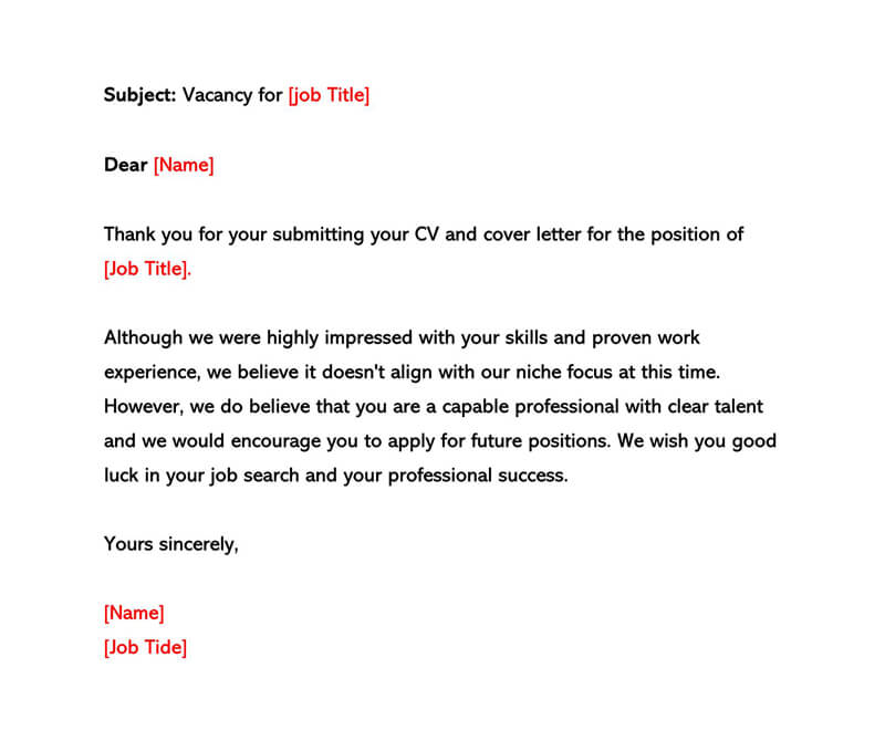 Rejection Letter Sample 01