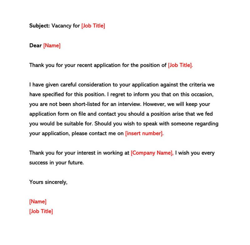 Rejection Letter Sample 02
