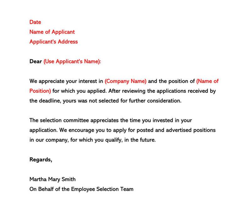 Rejection Letter No Interview from www.wordtemplatesonline.net