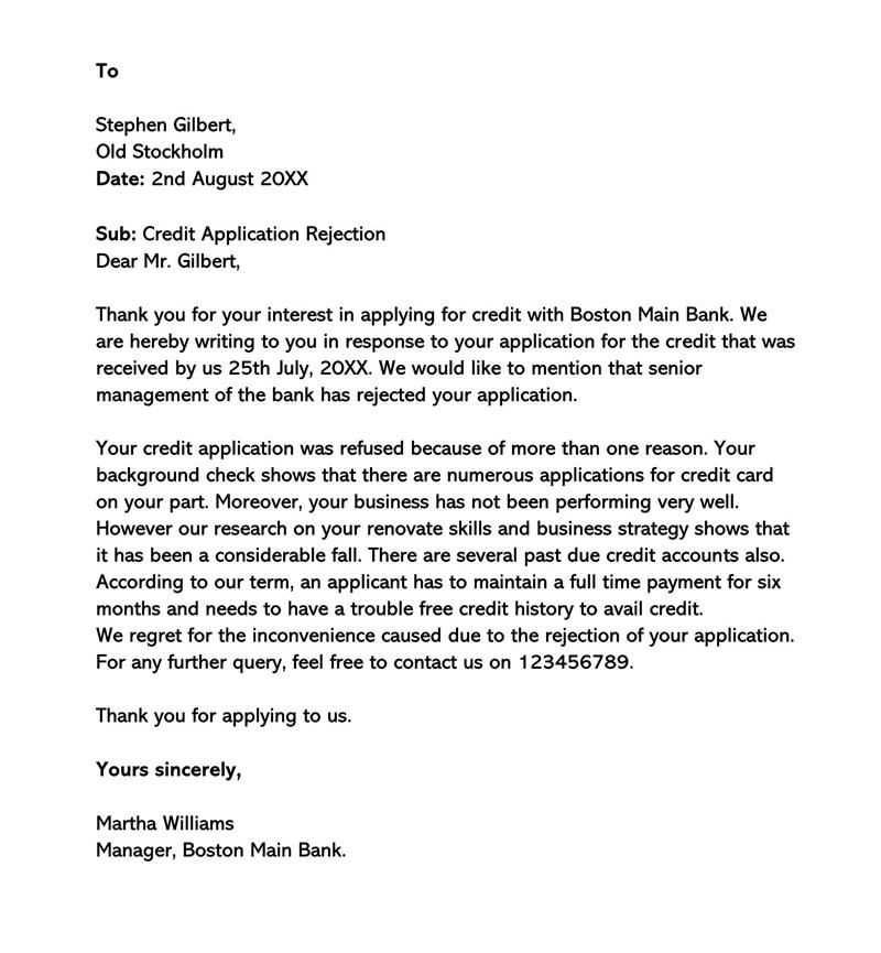 Rejection Letter of Credit Application