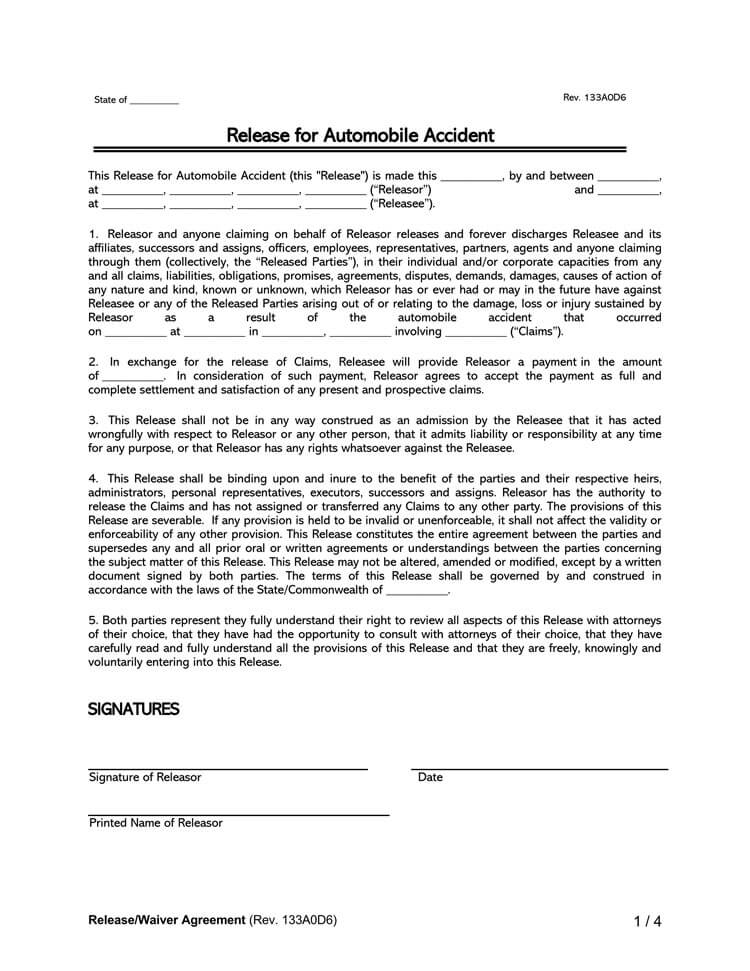Release for Automobile Accident