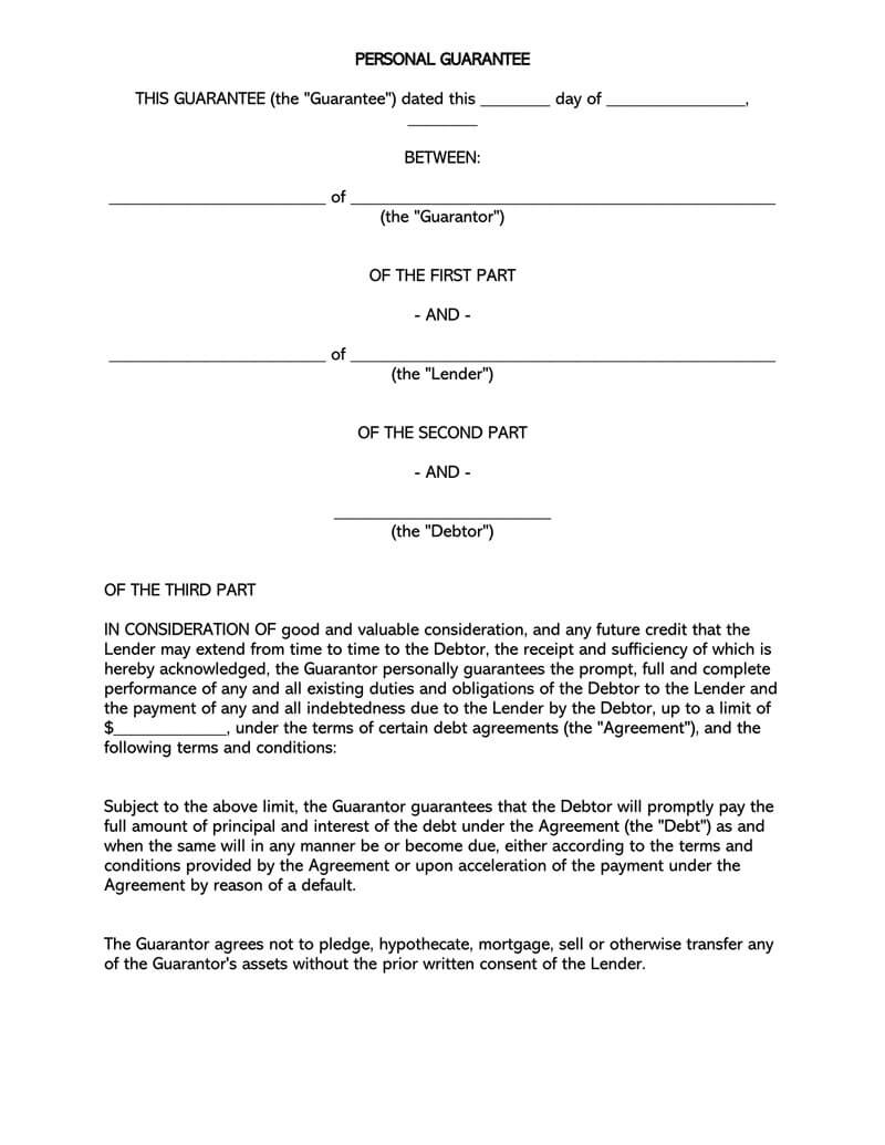 Release of Personal Guarantee Agreement Template