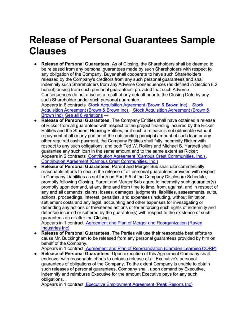 Release of Personal Guarantees Clauses