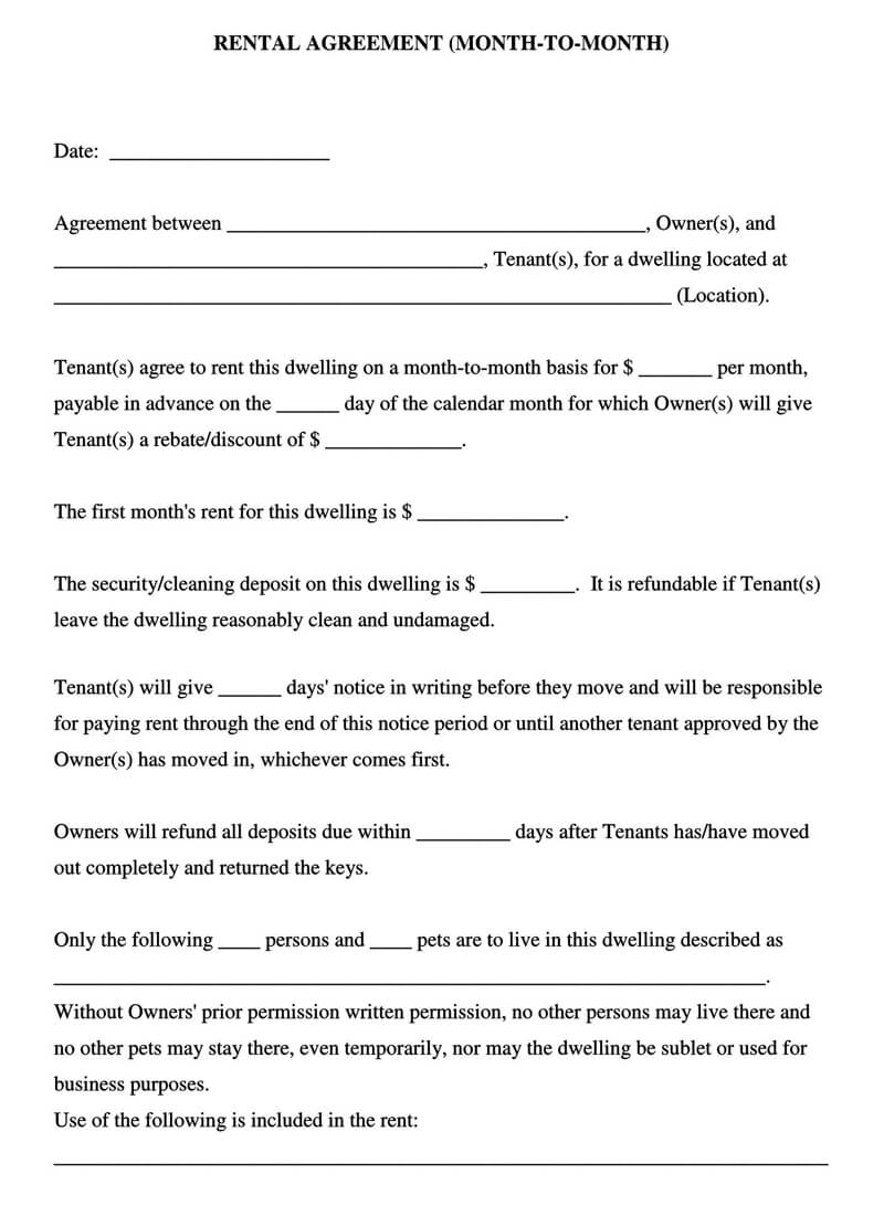 Rental Agreement for Month-to-Month