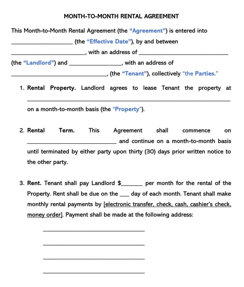 Rental Month-to-Month Agreement Template