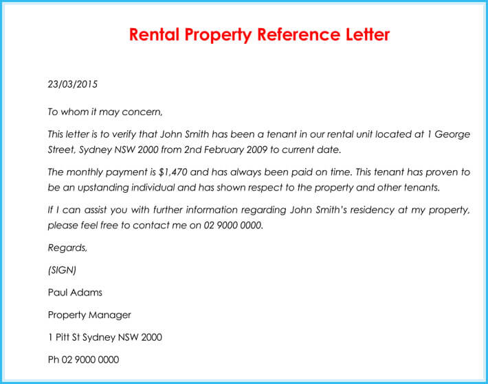 Rental Reference Letter   Samples Formats For Prefessionals