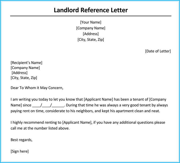 Sample Reference Letter For A Friend Renting A House