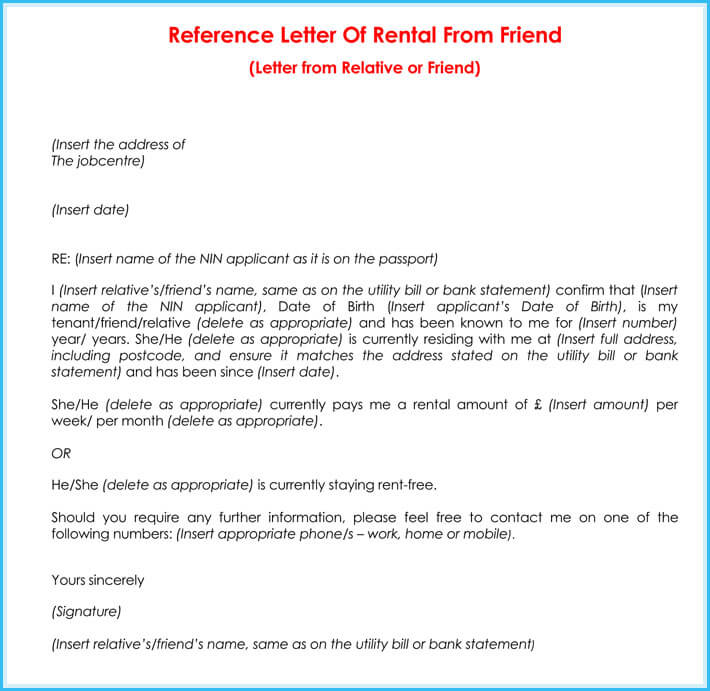 friend rental reference letter format