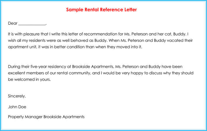 Printable Rental Reference Letter