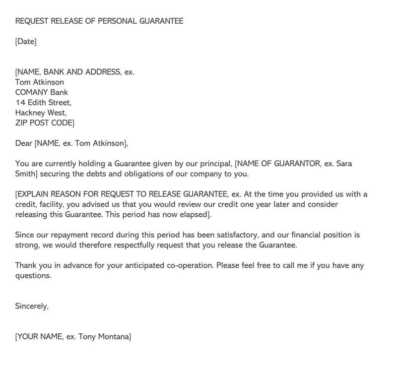Request Letter for Release of Personal Guarantee