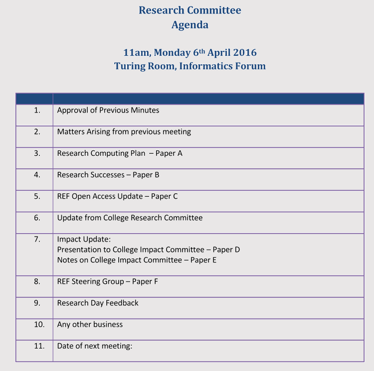 research meeting agenda example
