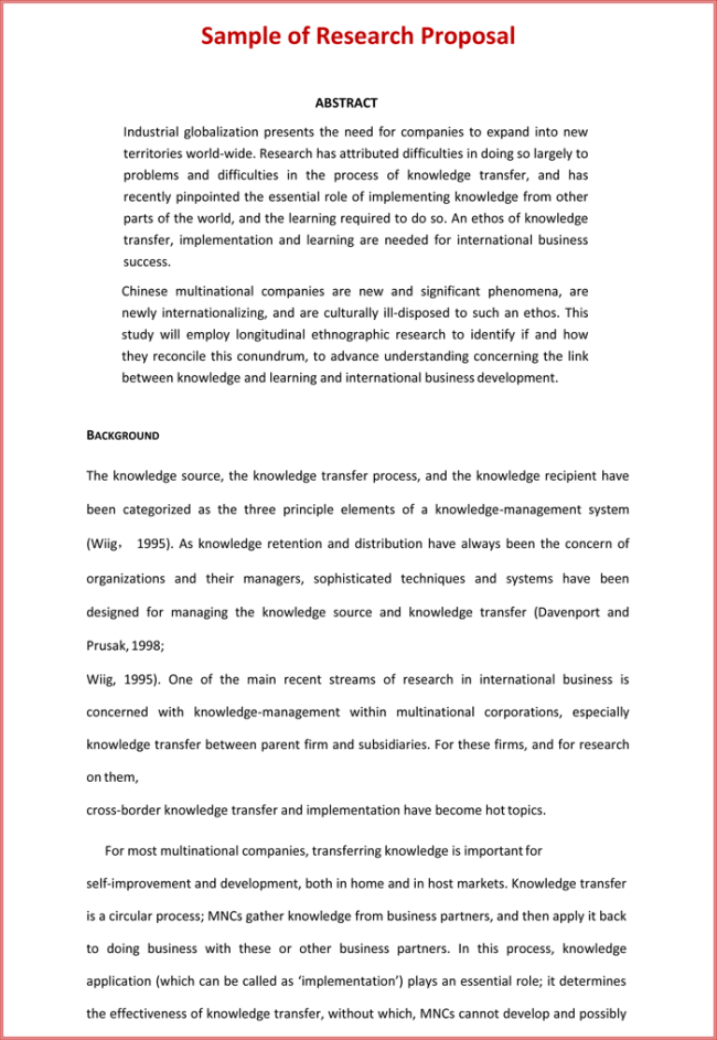 Research Proposal Abstract Example Apa Images Project Proposal