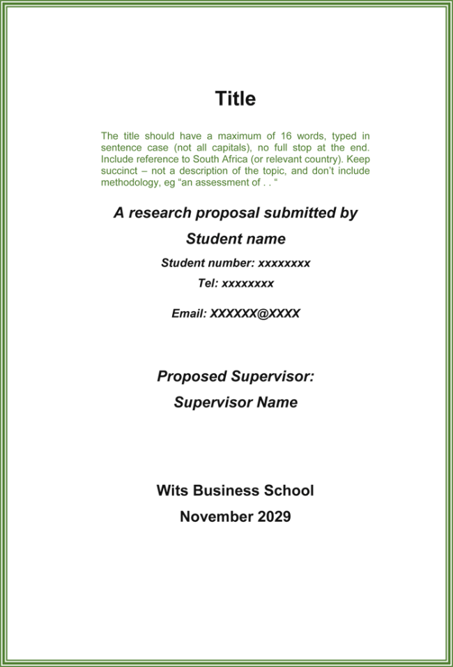 Masters of Thesis Proposal Writing