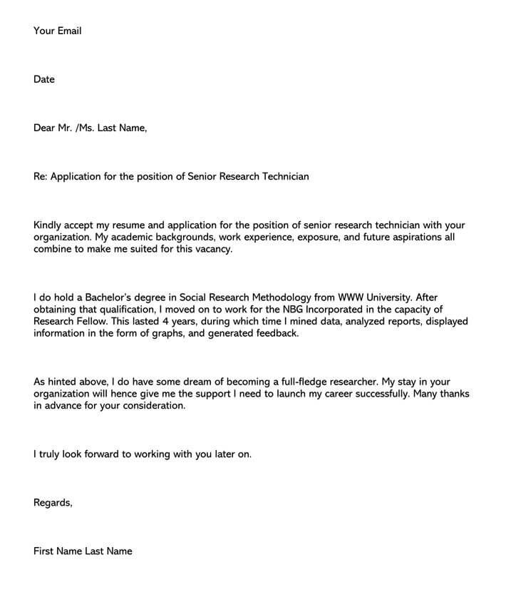 Research Technician Cover Letter Email Example