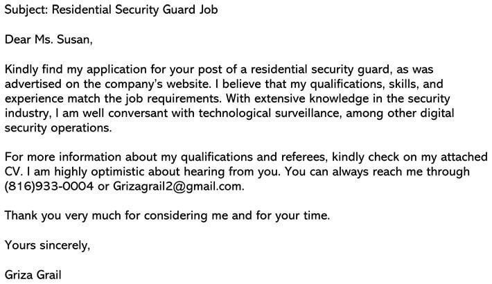 Residential Security Guard Email example