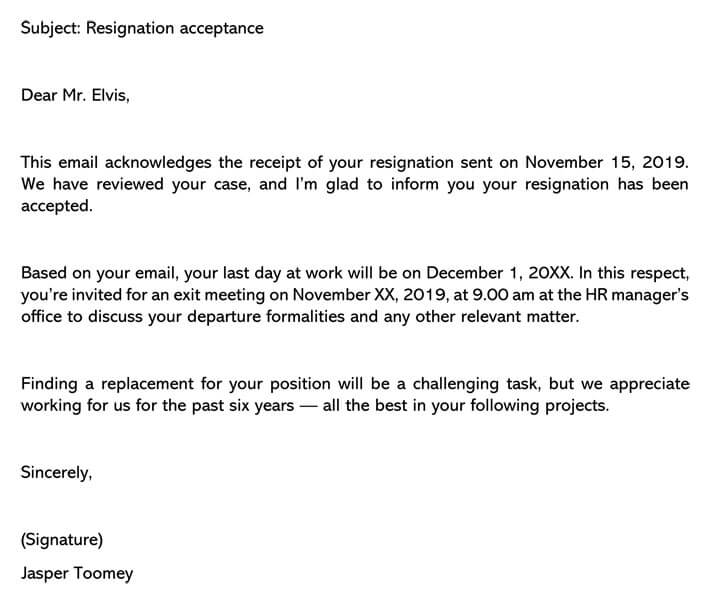 Resignation Acceptance Letter email example
