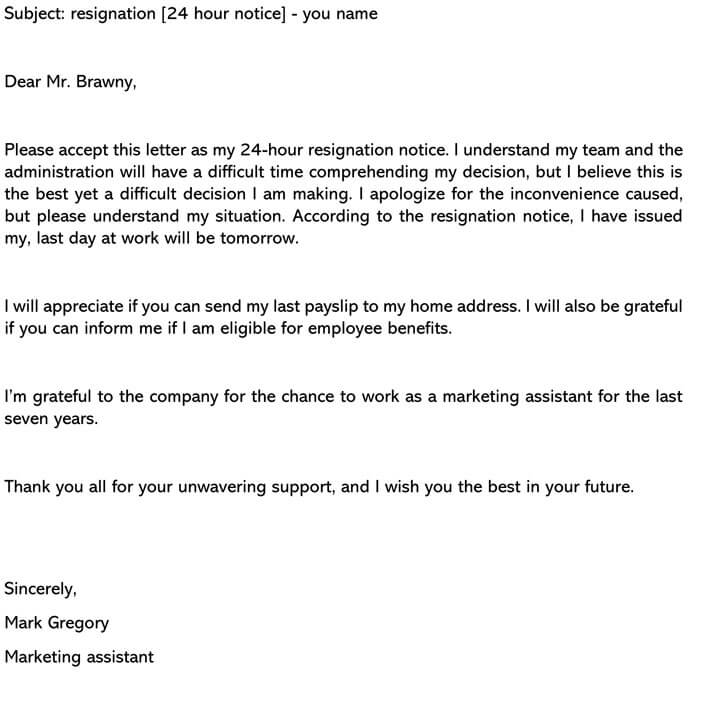 Resignation-Letter-24-hours-notice-Email Salary Letter Sample Templates on increase request, increase thank you, increase justification, increase proposal, certificate company, reduction request, advance request, certificate employment, proof employment, negotiation counter offer,