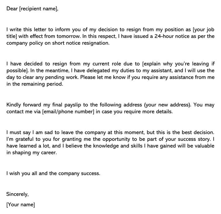 Resignation Letter With Short Notice from www.wordtemplatesonline.net