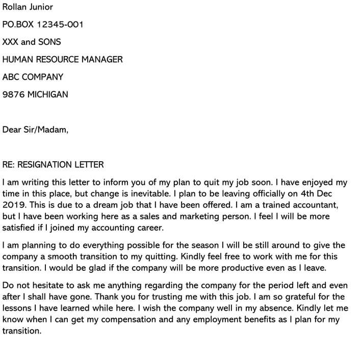 Resignation Letter (Due to Dream Job Offer) Email example