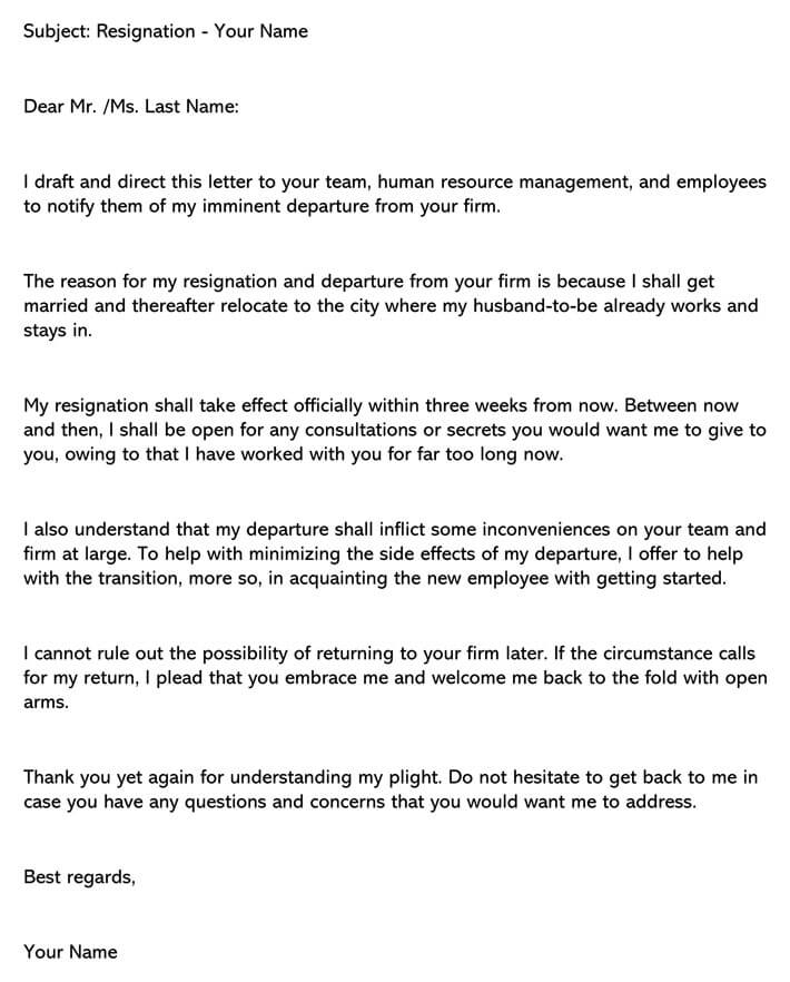 Sample Resignation Letter Due To Marriage Examples