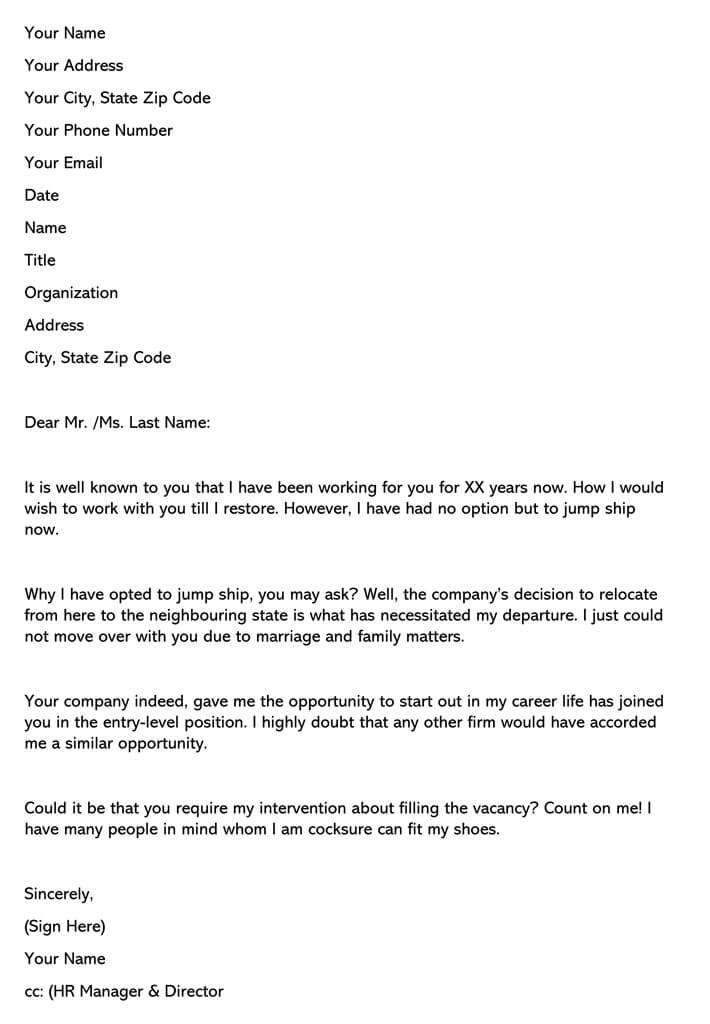 Resignation Letter (Due to Changes in Company)