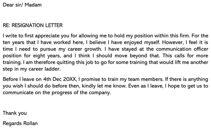 Resignation Letter For Career Growth Email example