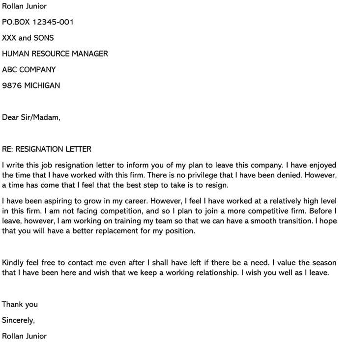 Resignation Letter For Career Growth