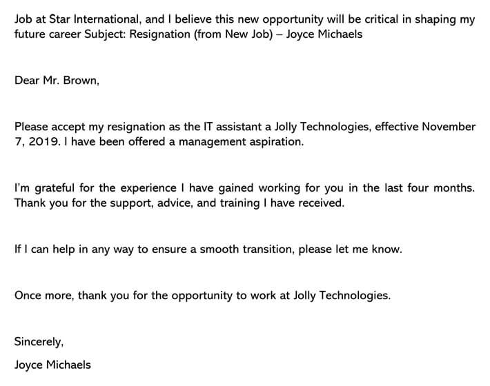 resignation letter (from New Job) email example