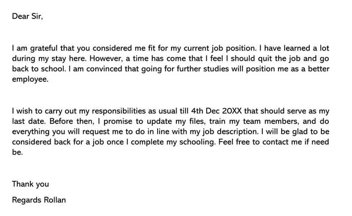 Resignation Letter Going Back to School Email example