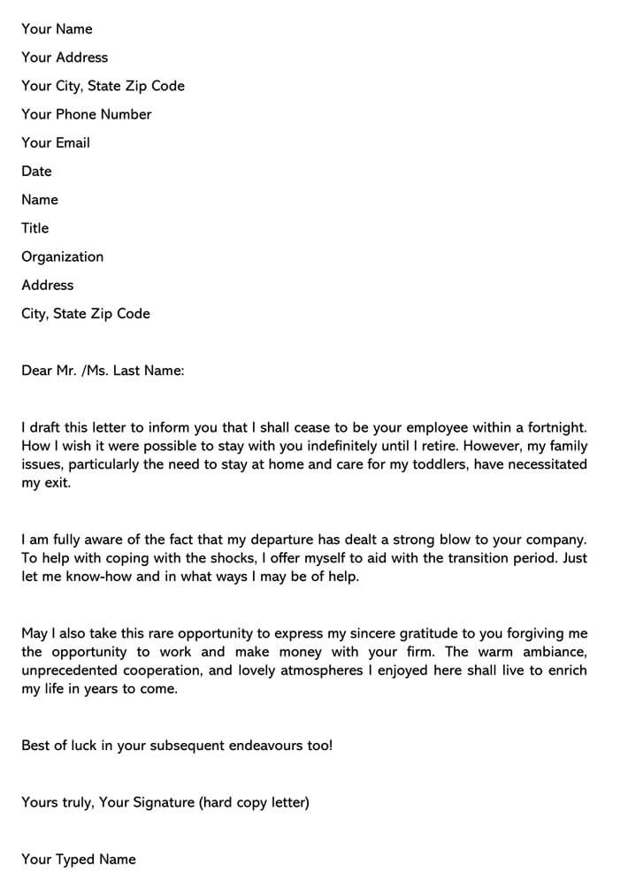 Resignation Letter Due To Family Reason from www.wordtemplatesonline.net