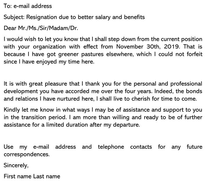Resignation Letter (Due to Better Salary and Benefits) email Example