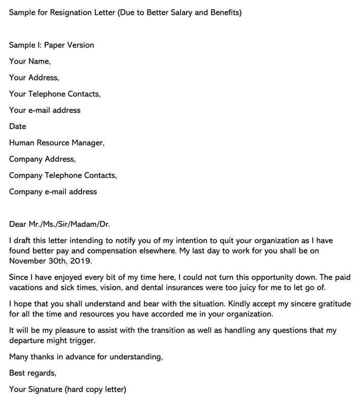 Resignation Letter (Due to Better Salary and Benefits)