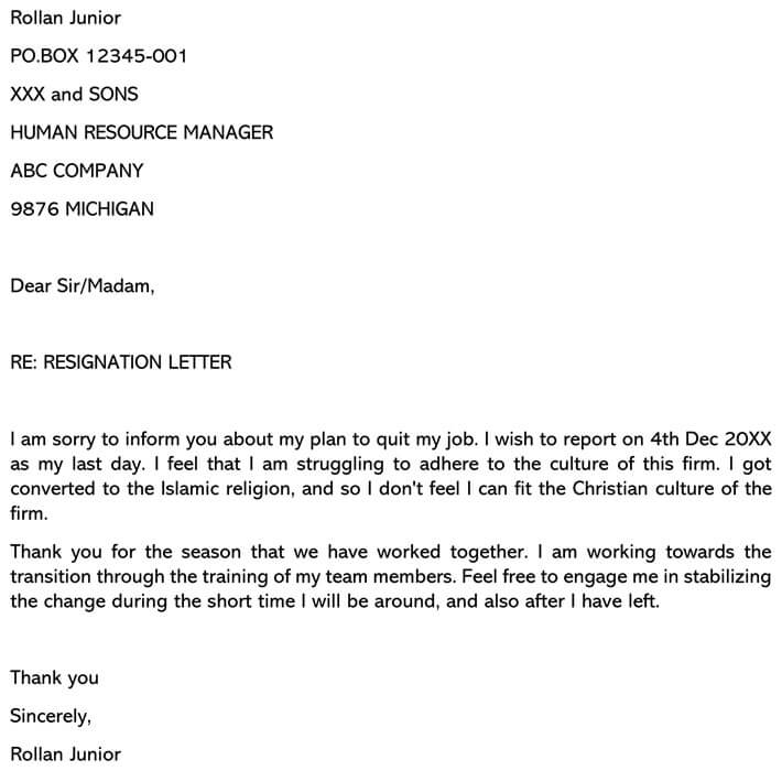 Resignation Letter for Job That's Not a Good Fit