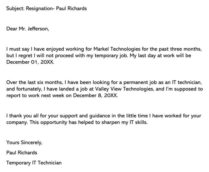 Resignation Letter (from Temporary Job) email example