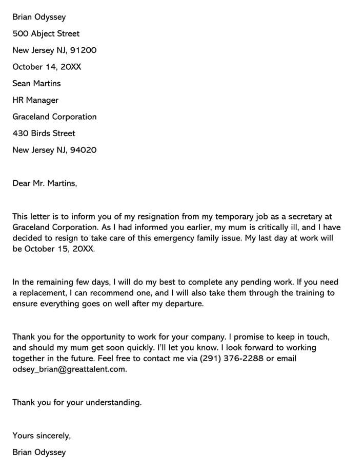 Resignation Letter (from Temporary Job)
