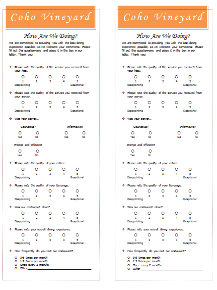 Restaurant Survey Template Templates for Microsoft Word – Survey Sample