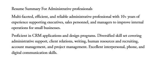 Resume summary for administrative