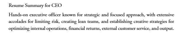 resume summary for eco